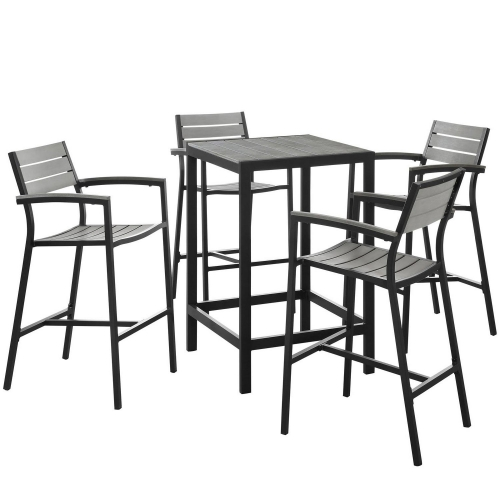 Maine 5 Piece Outdoor Patio Bar Set - Brown/Gray