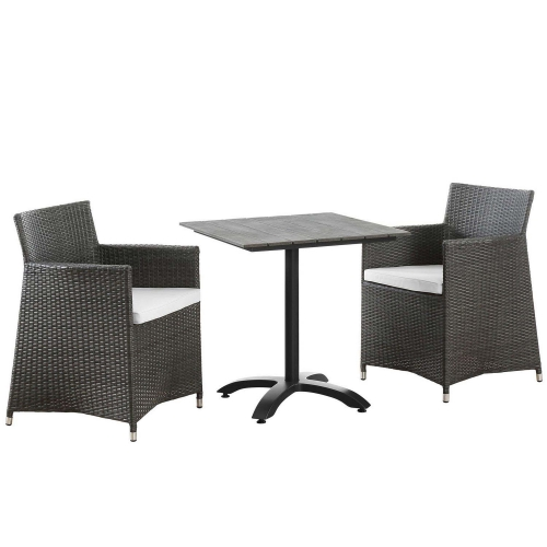 Junction 3 Piece Outdoor Patio Dining Set - Brown/White