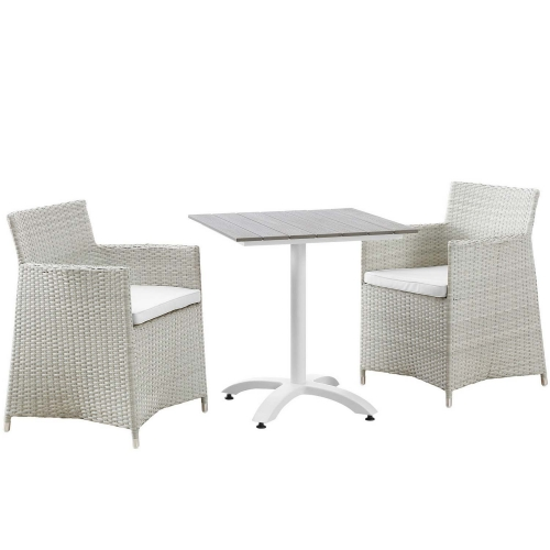Junction 3 Piece Outdoor Patio Dining Set - Gray/White