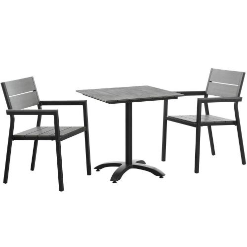 Maine 3 Piece Outdoor Patio Dining Set - Brown/Gray