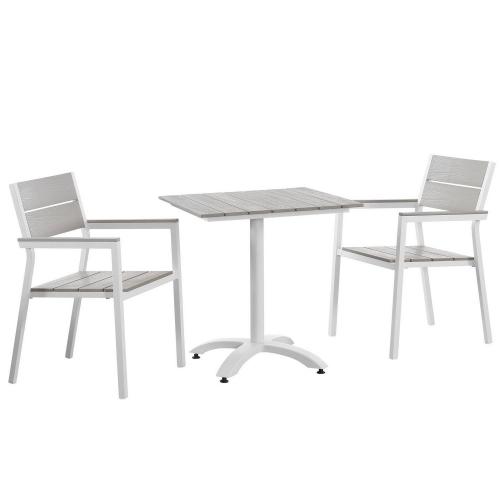 Maine 3 Piece Outdoor Patio Dining Set - White/Light Gray