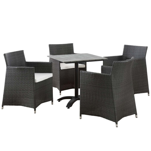 Junction 5 Piece Outdoor Patio Dining Set - Brown/White