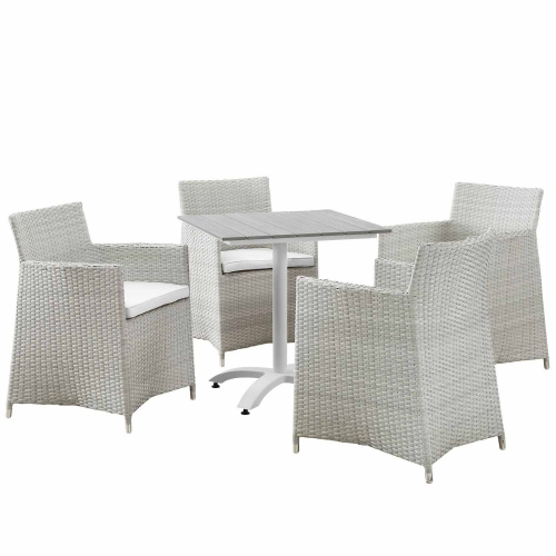 Junction 5 Piece Outdoor Patio Dining Set - Gray/White
