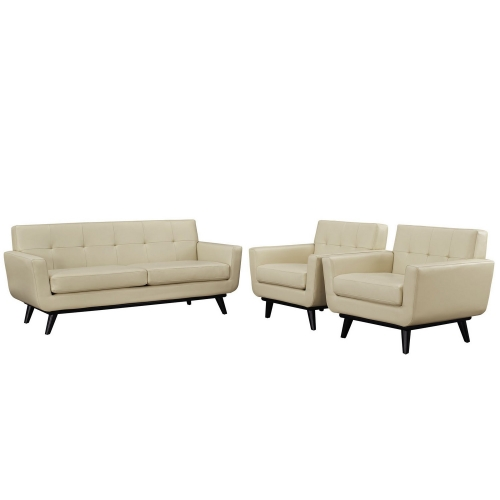 Engage 3 Piece Leather Living Room Set - Beige