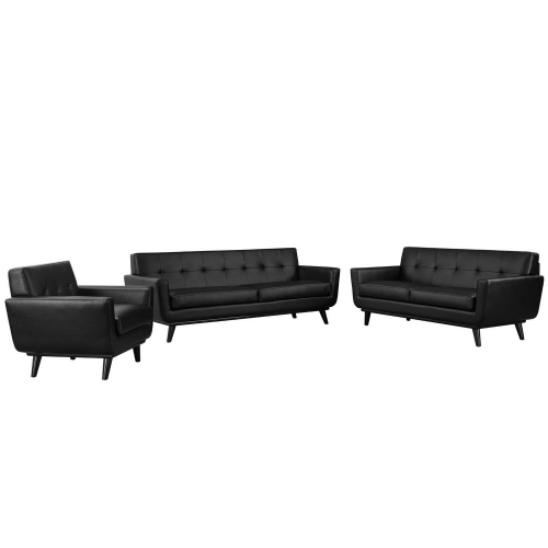 Engage 3 Piece Leather Living Room Set - Black