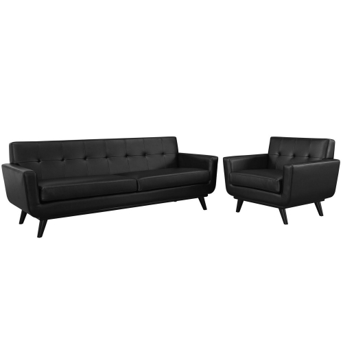 Engage 2 Piece Leather Living Room Set - Black