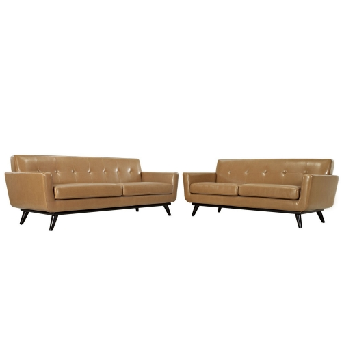 Engage 2 Piece Leather Living Room Set - Tan