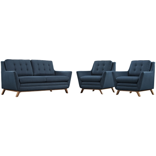 Beguile Fabric Sofa Set - Azure