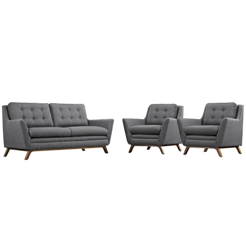 Beguile Fabric Sofa Set - Gray