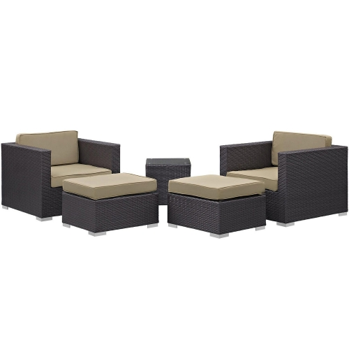 Convene 5 Piece Outdoor Patio Sectional Set - Espresso/Mocha