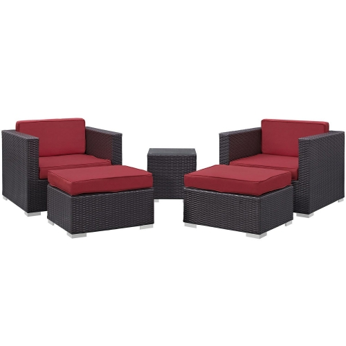 Convene 5 Piece Outdoor Patio Sectional Set - Espresso/Red