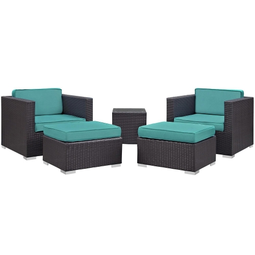 Convene 5 Piece Outdoor Patio Sectional Set - Espresso/Turquoise
