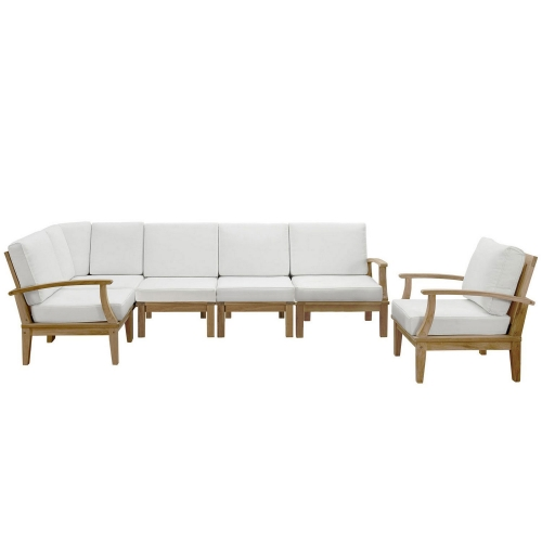 Marina 6 Piece Outdoor Patio Teak Sofa Set - Natural White