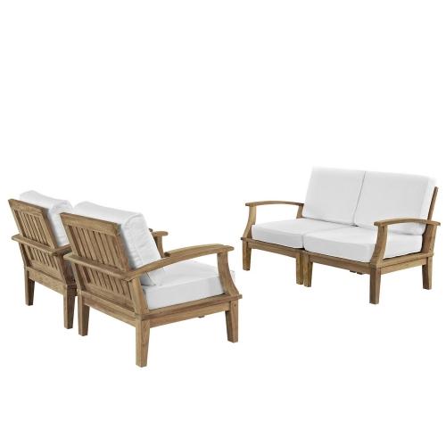 Marina 4 Piece Outdoor Patio Teak Sofa Set - Natural White