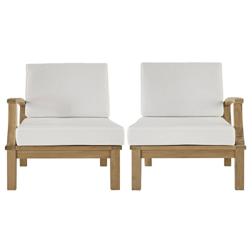 Marina 2 Piece Outdoor Patio Teak Sofa Set - Natural White
