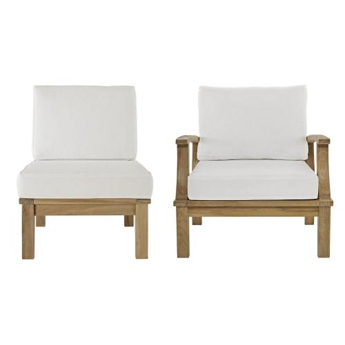 Marina 2 Piece Outdoor Patio Teak Sofa Set - Natural White