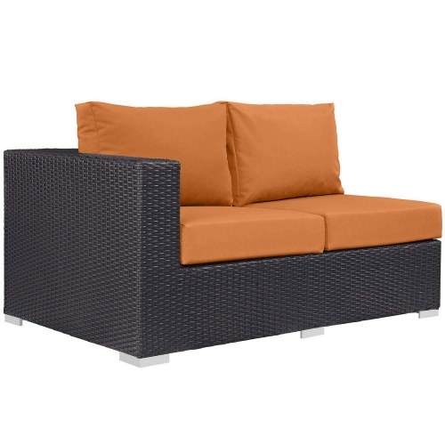Convene Outdoor Patio Left Arm Loveseat - Espresso Orange