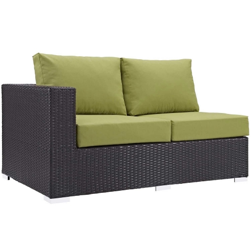 Convene Outdoor Patio Left Arm Loveseat - Espresso Peridot