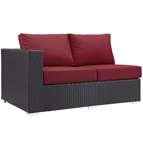 Convene Outdoor Patio Left Arm Loveseat - Espresso Red