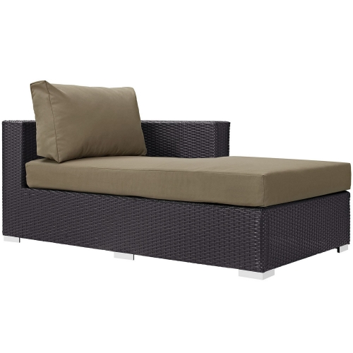 Convene Outdoor Patio Fabric Right Arm Chaise - Espresso Mocha