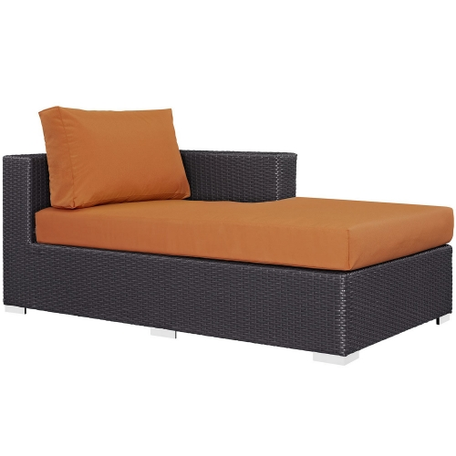 Convene Outdoor Patio Fabric Right Arm Chaise - Espresso Orange