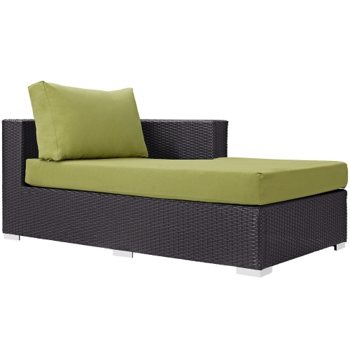 Convene Outdoor Patio Fabric Right Arm Chaise - Espresso Peridot