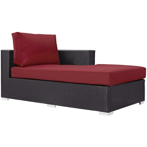 Convene Outdoor Patio Fabric Right Arm Chaise - Espresso Red