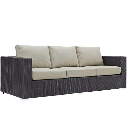 Modway Convene Outdoor Patio Sofa - Espresso Beige