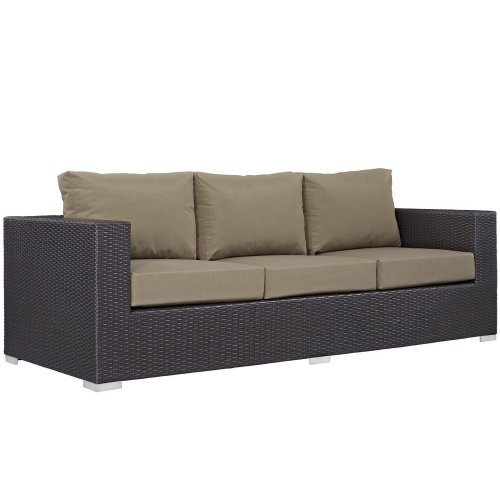 Convene Outdoor Patio Sofa - Espresso Mocha