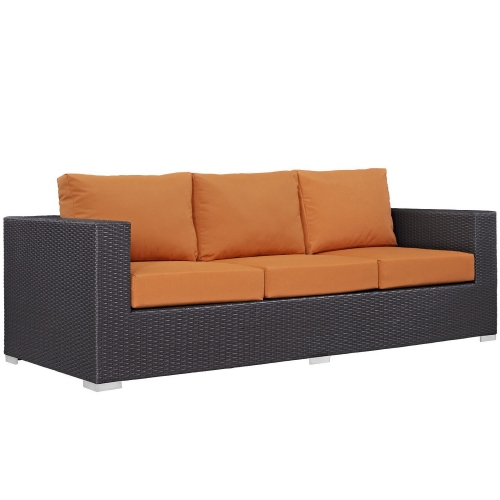 Convene Outdoor Patio Sofa - Espresso Orange