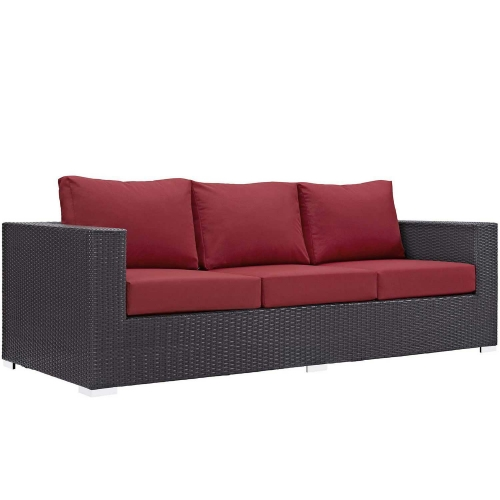 Modway Convene Outdoor Patio Sofa - Espresso Red