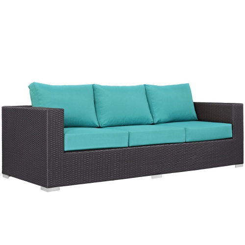 Convene Outdoor Patio Sofa - Espresso Turquoise