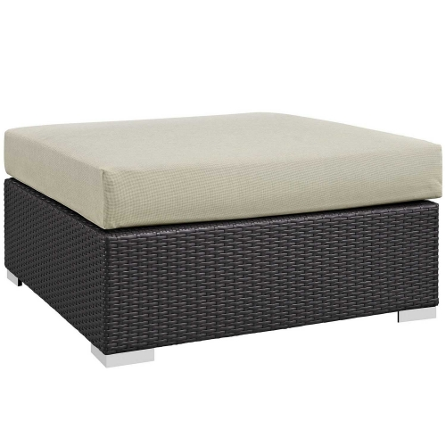 Convene Outdoor Patio Large Square Ottoman - Espresso Beige