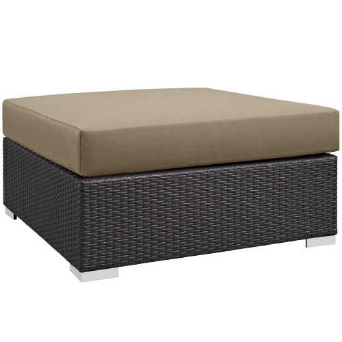 Convene Outdoor Patio Large Square Ottoman - Espresso Mocha