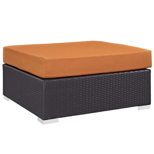 Convene Outdoor Patio Large Square Ottoman - Espresso Orange
