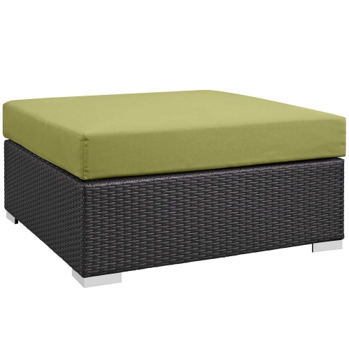 Convene Outdoor Patio Large Square Ottoman - Espresso Peridot
