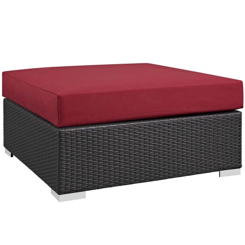 Convene Outdoor Patio Large Square Ottoman - Espresso Red