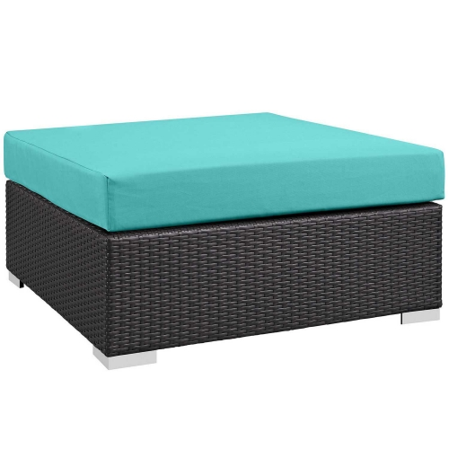 Convene Outdoor Patio Large Square Ottoman - Espresso Turquoise