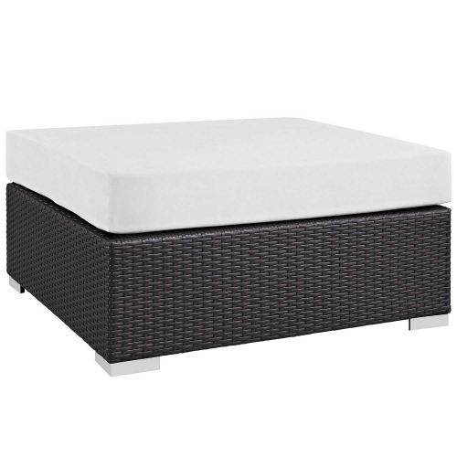 Convene Outdoor Patio Large Square Ottoman - Espresso White