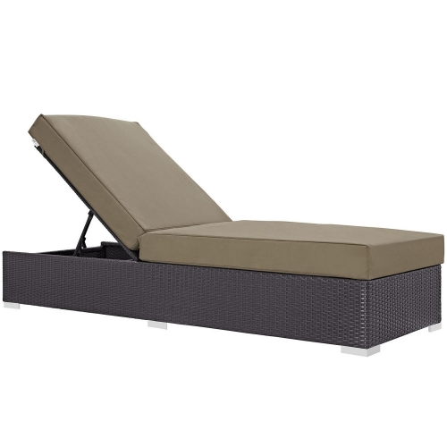 Convene Outdoor Patio Chaise Lounge - Espresso Mocha