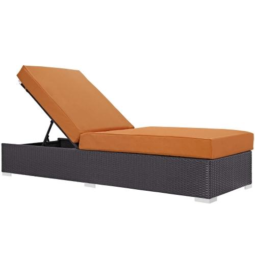 Convene Outdoor Patio Chaise Lounge - Espresso Orange