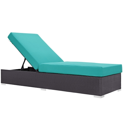 Convene Outdoor Patio Chaise Lounge - Espresso Turquoise