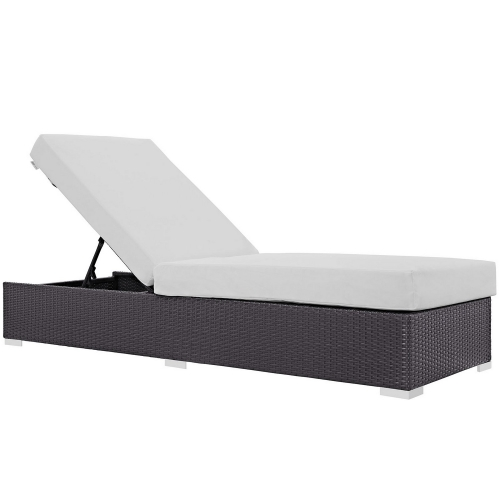 Convene Outdoor Patio Chaise Lounge - Espresso White