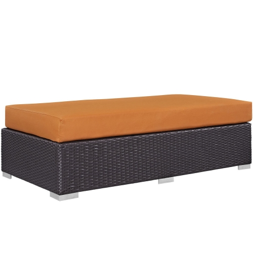 Convene Outdoor Patio Fabric Rectangle Ottoman - Espresso Orange