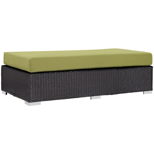 Convene Outdoor Patio Fabric Rectangle Ottoman - Espresso Peridot
