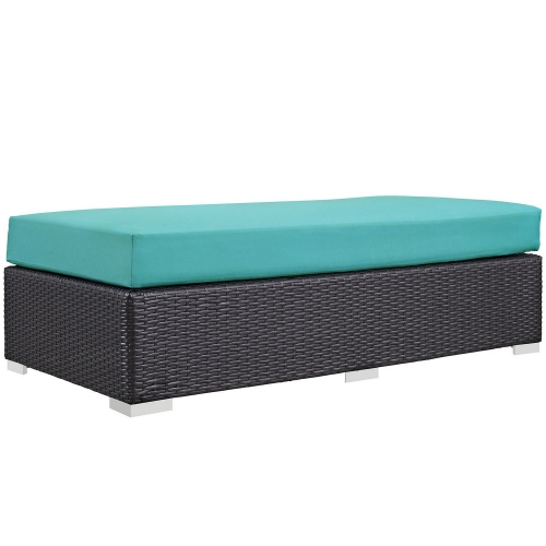Convene Outdoor Patio Fabric Rectangle Ottoman - Espresso Turquoise