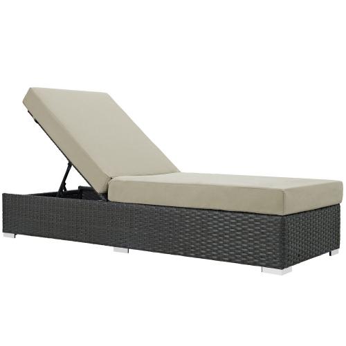 Modway Sojourn Outdoor Patio Sunbrella Chaise Lounge - Canvas Antique Beige