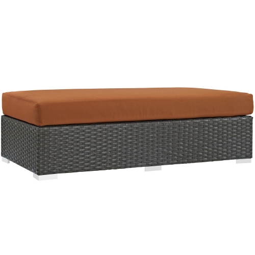 Sojourn Outdoor Patio Fabric Sunbrella Rectangle Ottoman - Canvas Tuscan