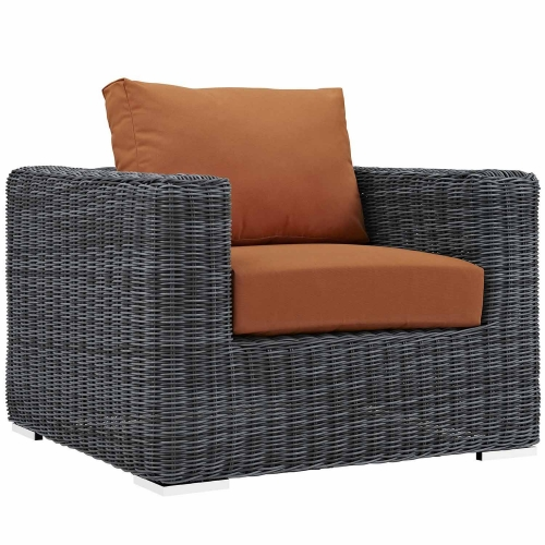 Summon Outdoor Patio Fabric Sunbrella Arm Chair - Canvas Tuscan