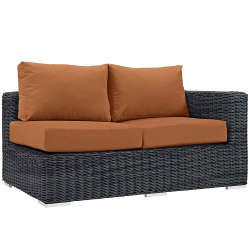 Summon Outdoor Patio Sunbrella Right Arm Loveseat - Canvas Tuscan